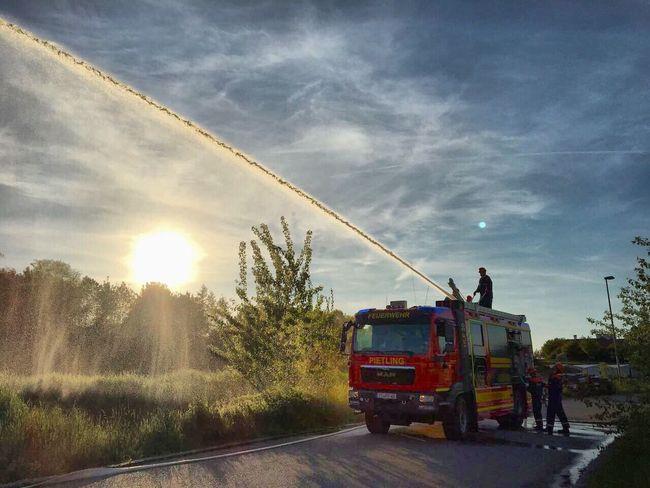 Feuerwehr Rosenbauer Sunlight Sky Outdoors Water Fire Firework - Man Made Object