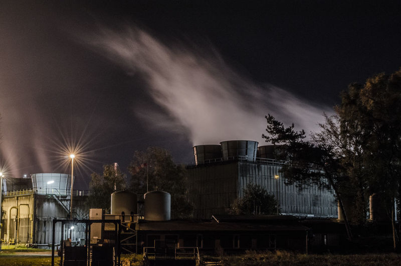 View of oil refinery at night