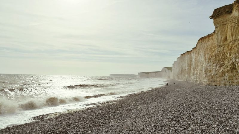 Beach Sea Nature Water Sun Beauty In Nature Outdoors Cliff Scenics Cloud - Sky Landscape Tranquility Wave Sky Day Seven Sisters Cliffs Beatiful Nature