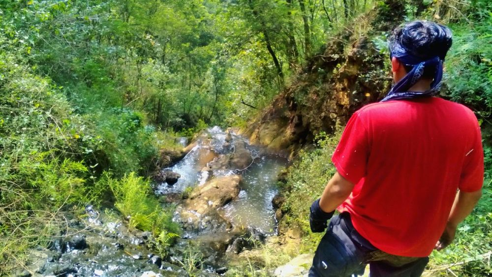 Rear View Real People Green Color One Person Outdoors Forest Scene River Trekking Explorer Wanderer Wanderlust My Photography Hikingadventures River Trekking Forest River Scene EyeEmNewHere