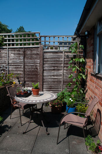 Potted plants on table by building against clear sky