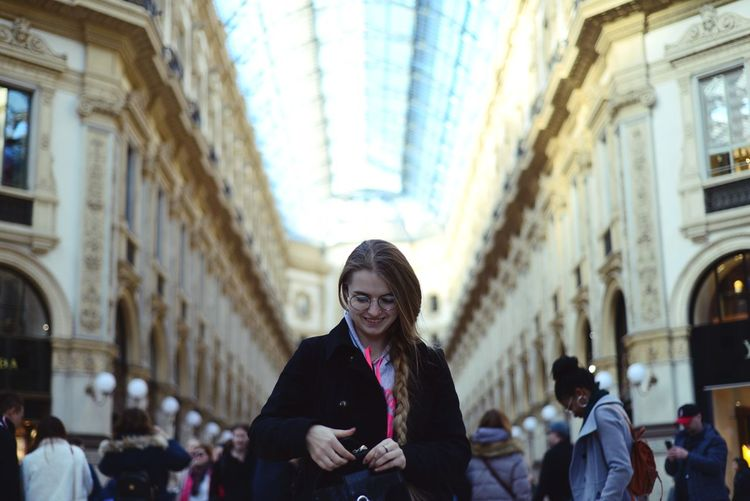 Milan Milano Europe Travel Tourist City Warm Clothing Portrait Crowd Young Women Beauty Women Cultures Architecture Historic Arch My Best Photo
