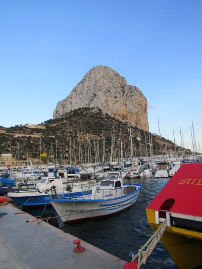Peñón de Ifach, Spain Calp Calpe Alicante España Peñón De Ifach Blue Clear Sky Close-up Copy Space Day Harbor Land Moored Mountain Nature Nautical Vessel No People Port Portrait Rock Rock - Object Sailboat Sea Sky Transportation Water