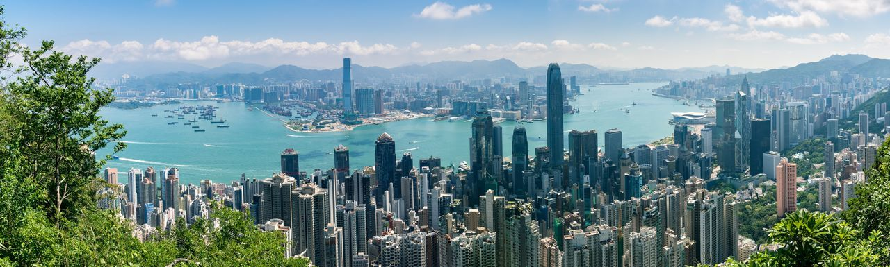 Looking over Hong Kong Panoramic View Panoramic Photography Panorama Hong Kong Island Hong Kong City HongKong Building Exterior Sky Built Structure Architecture City Crowd Nature Cloud - Sky Cityscape Building Water Office Building Exterior Mountain Landscape Panoramic Plant Skyscraper Crowded Tall - High Day