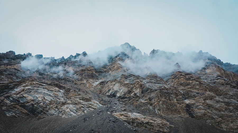 Mountain Sky Beauty In Nature Landscape Geology No People Nature Non-urban Scene Smoke - Physical Structure Tranquility Scenics - Nature Environment Physical Geography Tranquil Scene Land Day Rock Volcano Extreme Terrain Steam Outdoors Power In Nature Climate Pollution Formation My Best Photo
