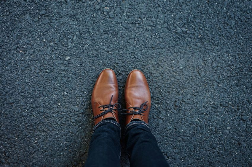 Shoes Low Section Standing Human Leg Shoe Directly Above High Angle View Personal Perspective Men Close-up Footwear Shoelace Ground Human Feet Asphalt Jeans Denim Pair Human Foot