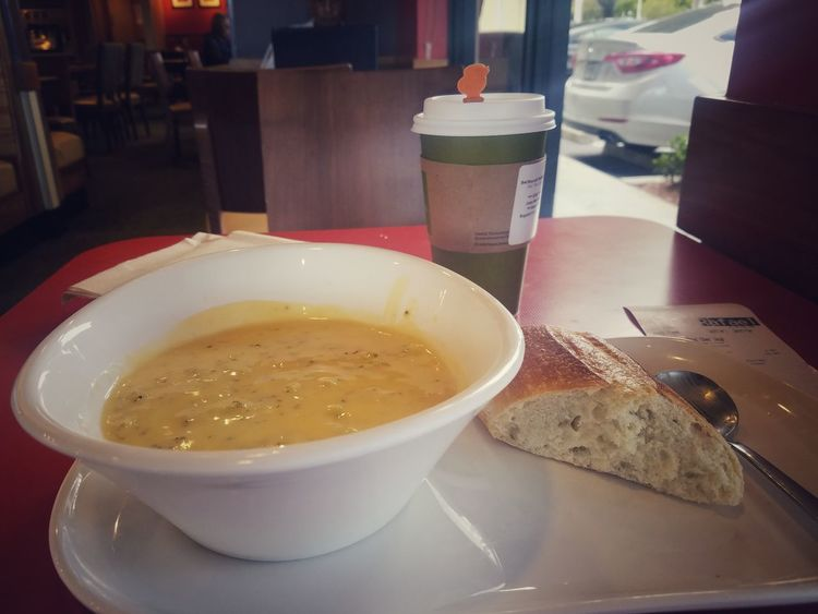 Broccoli Chedder Soup with a Chai Tea Latte Food And Drink Temptation Food Ready-to-eat Relaxing Chai Tea Latte Panera Bread  Miami Enjoying Life Photographer Food Foodie