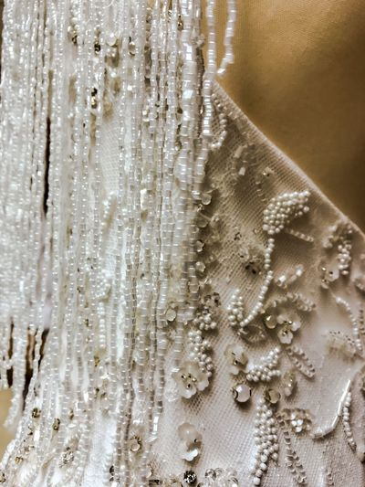Fringes Fringe Beaded Embroidery 20's Style ShotOnIphone Close Up Boho Chic Wedding Dresses Wedding Dress EyeEm Selects Textile Indoors  Backgrounds Textured  Close-up No People