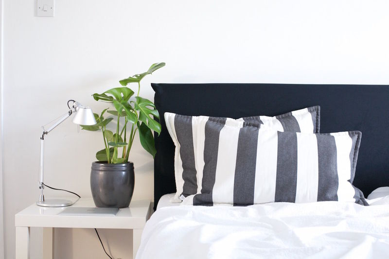Artemide Bed Flower Pot Plant Stripes Tolomeo Bed Bedroom Indoors  Interior Styling Lamp Monstera Pillow Plant White Color