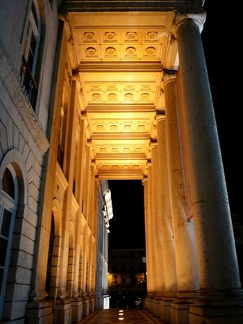 D. Maria II Theater in Lisbon Portugal Architecture Night Nightlights Column