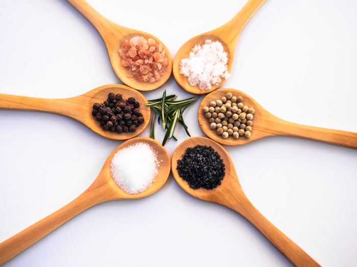 Directly above shot of spices against white background