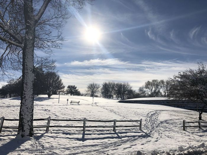 Omaha, Nebraska Winter Snow Cold Temperature Sky Tree Sunlight Snowcapped Mountain Lens Flare Bright No People Sunbeam Field Covering Outdoors Land Sun Copy Space Fence Fencepost Bare Tree Beauty In Nature Country Road Remote Location Sun Flare