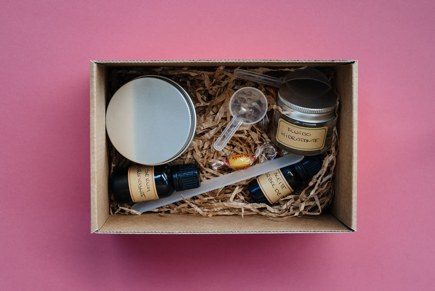 Flat lay of homemade cosmetic products Business Facial Experiments Fashion Glamour Shots Homemade Makeup Pink Set Top Wellness Accesories Close-up Color Colorful Cosmetic Cream Decorative Directly Above Flat Lay Glamour Healthy Lifestyle Products