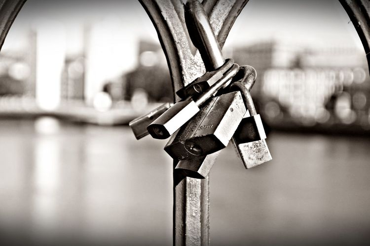 Attached Close-up Day Focus On Foreground Lock Metal No People Outdoors Padlock Protection Safety Security Candados De Amor Black And White Puente Black & White EyeEm Gallery El Tiempo Detenido EyeEm