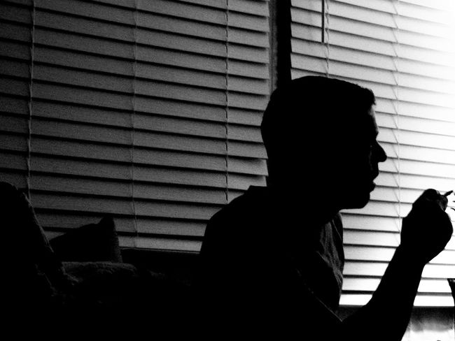 After Midnight Blackandwhite Blinds Lines And Shadows Calm Chilling Dark Room Darkness Darkness And Light Enjoying Life Hanging Out Indoors  Late Night Lifestyles Light And Shadow Man Minimalism Night Overnight Success Relaxing Silhouette Smoking Window Monochrome Photography MonochromePhotography