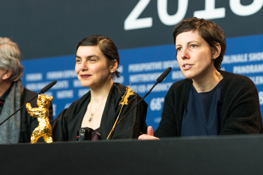 Berlin, Germany - February 24, 2018: Director Adina Pintilie, Golden Bear Award for Best Film 'Touch Me Not', and producer Bianca Oana at the Award Winners press conference during the 68th Berlinale AWARD Closing Ceremony Film Festival Golden Bear Interview Adina Pintilie Arts Culture And Entertainment Berlinale Berlinale 2018 Berlinale Festival Berlinale2018 Best Film Bianca Oana Director Entertainment Entertainment Event Film Director Golden Bear Award Mass Media People Press Conference Touchmenot Two People Winner Women