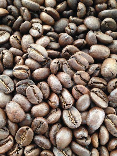 Full frame shot of roasted coffee bean