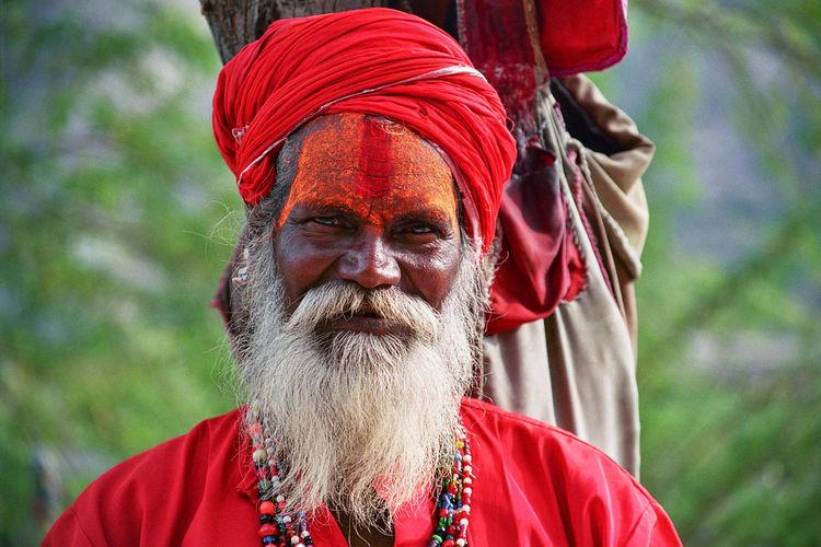 Saddhu at Amber Fort Beard Close-up Human Face Looking At Camera One Person Portrait Red Saddhu