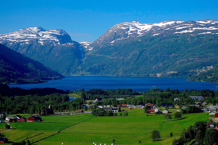 View to the Rødalsvatnet Lake from Rødal, Norway Beauty In Nature Countryside Day Hill Lake Landscape Mountain Mountain Range Nature Non-urban Scene Norway Outdoors Rodalies De Catalunya Rødalsvatnet Lake Scenics Tranquil Scene Tranquility