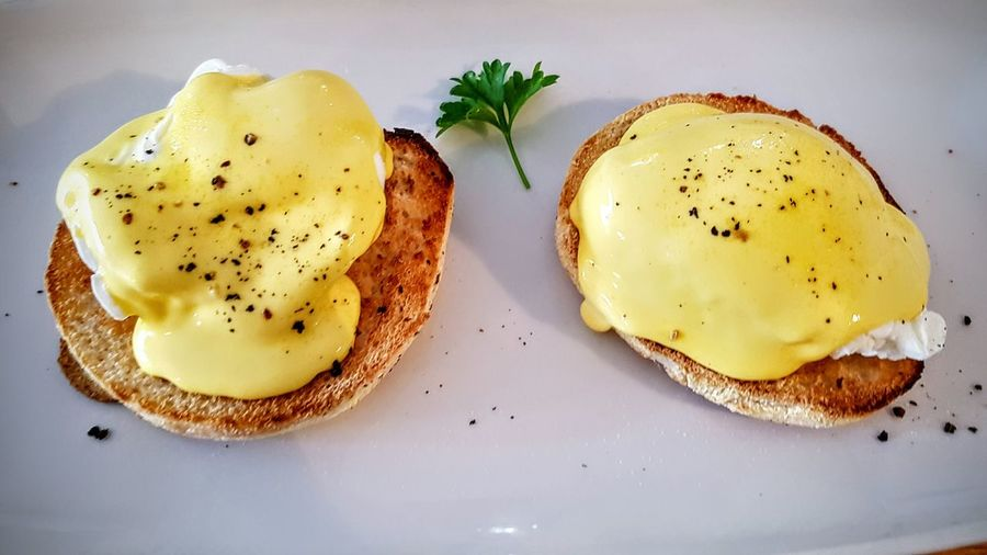 Close-up of eggs benedicts in plate