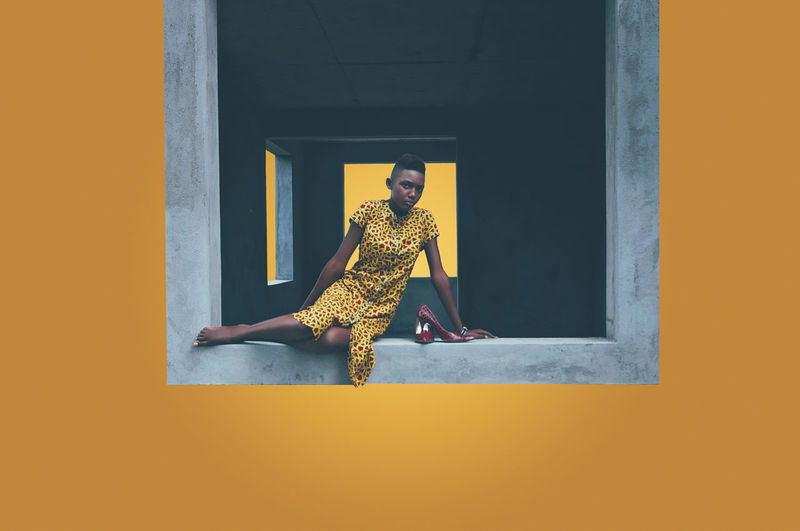 Creativity EyeEm Best Shots Fashion Love The Week on EyeEm Architecture Day Fashion Photography Female Model Frame Full Length Lifestyles Model One Person Portrait Real People Yellow Young Adult Urban Fashion Jungle The Modern Professional