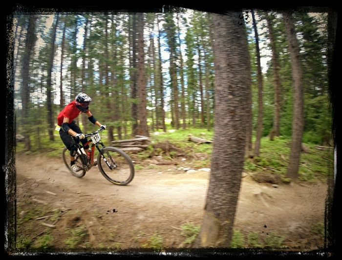 Mountain Biking Downhill Racer at the Colorado freeride festival taken with a Gopro