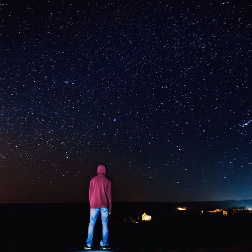Star - Space Night Astronomy One Person Star Field Space Constellation Galaxy Sky Beauty In Nature Nature Milky Way Real People Leisure Activity Standing Scenics Space Exploration One Man Only Illuminated