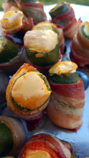 Smoked jalapeno peppers with cream cheese and wrapped in bacon BBQ BBQ Time Cooking Grilling Smoked Bacon Barbecue Close Up Close-up Closeup Day Food Food And Drink Freshness Fruit Grill Grilled Healthy Eating Indoors  Jalapeno No People Ready-to-eat Vegetable Vegetables Yummy