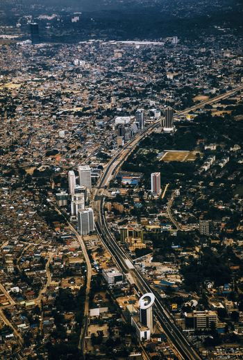 High angle view of dar es salaam city. one of the fastest growing cities in africa.