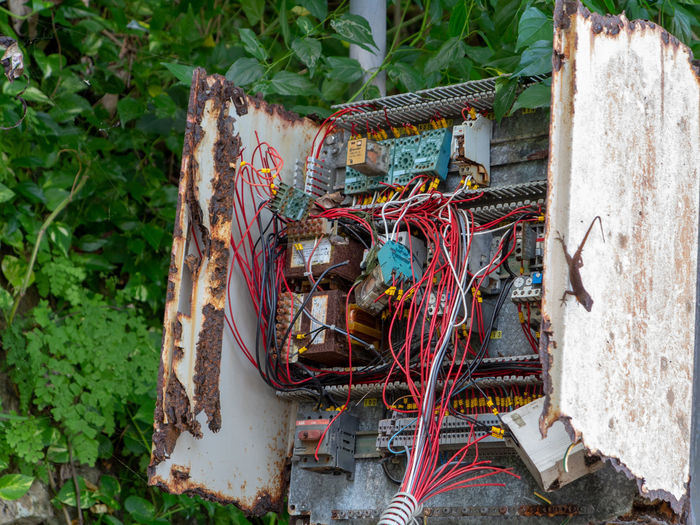 Chaotic wiring junction box open Box Damaged Wiring  Dangerous Safety Jumbled Mess Message Fuse Box RISK Run-down Connection Electrical Component