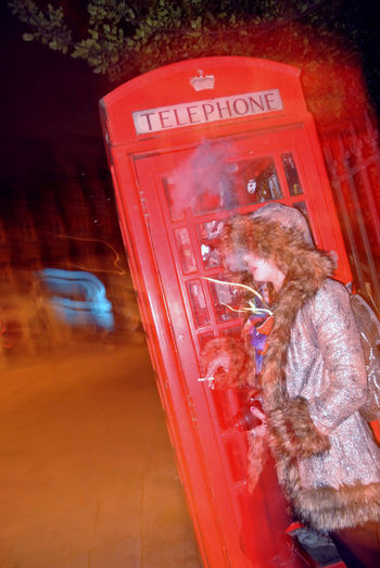 Flash Front Curtain London Long Exposure Night No Tripod Outdoors Red Road Smoke Smoking Telephone Booth Travel United Kingdom