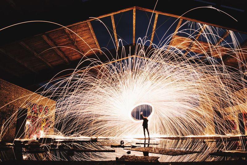 Scintille. Steelwoolphotography Circle Long Exposure Motion Wire Wool Night Heat - Temperature Illuminated One Person
