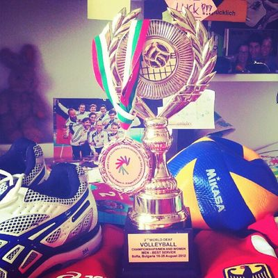 #Bronze, Best server #trophy, my #volleyball shoes, national dress and other things arrived home on my desk =)) Bronze Volleyball Trophy