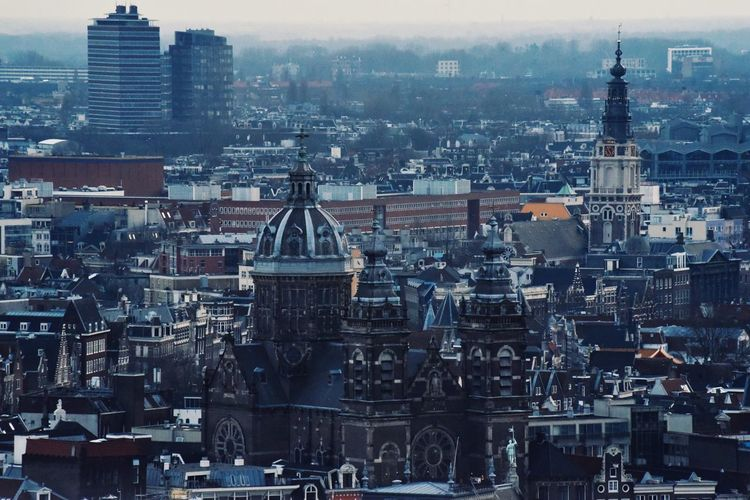 Horizon Over Land Endless Church Church Architecture Travel Destinations Amsterdam Wintertime Amsterdamcity View From The Top Eye4photography  EyeEm Gallery Architecture Pattern Pieces Architecture_collection Buildings Built Structure Urban Skyline Urban Landscape City Cityscape Urban Skyline Skyscraper Modern Aerial View Downtown District Architecture Sky Building Exterior Tall - High Clock Tower