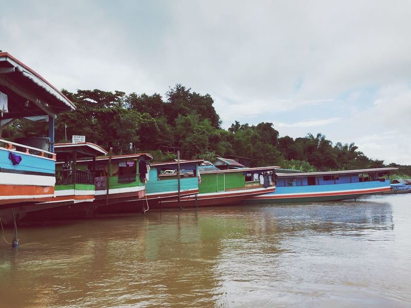 Long Boats Laos Transportation Mode Of Transport Nautical Vessel Sky Boat Water Tree Waterfront Travel Lake Cloud - Sky Cloud Calm Day Cloudy Nature Tranquil Scene Ferry Tranquility No People