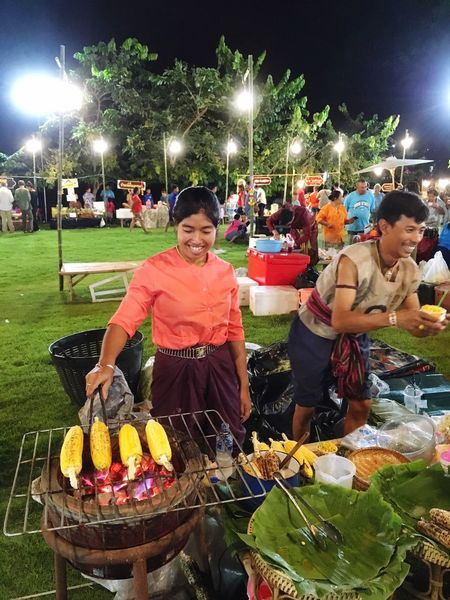 Thai traditional market Real People Night Food People Incidental People Food And Drink Illuminated Lifestyles Standing Front View Leisure Activity Casual Clothing Women Nature Lighting Equipment Grass Females Men Adult
