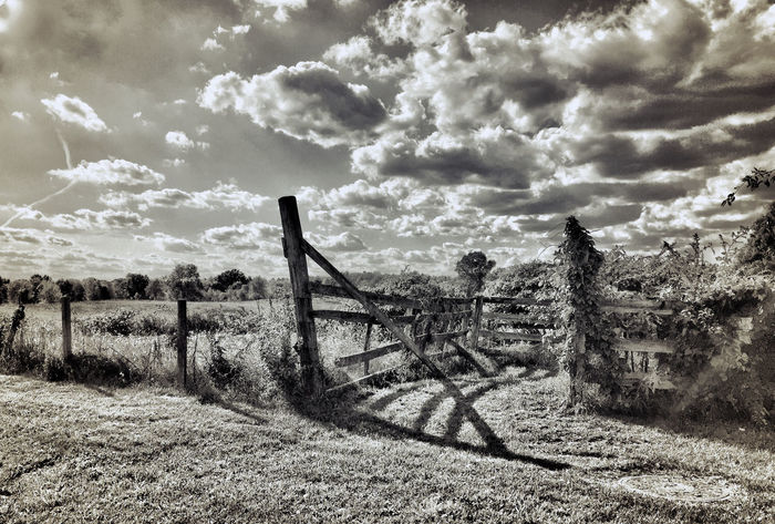Country Gate Beauty In Nature Black And White Cloud Cloud - Sky Cloudy Countryside Day Fence Field Iphone 6 Plus IPhone 6+ IPhoneography Landscape Nature No People Non-urban Scene Outdoors Remote Rural Scene Scenics Sky Solitude Tranquil Scene Tranquility