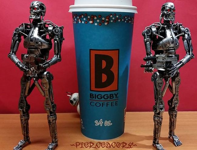 Hired guards for my coffee. It always seems to disappear faster than I think it should. I should be safe today. I expect to see piles of dust from anyone trying to steal a sip! T2 Endoskeleton Bb8 Neca Necatoys Blackseries Biggbyleonardfuller Biggby Nocoffeenowork Coffee Coffeeordeath
