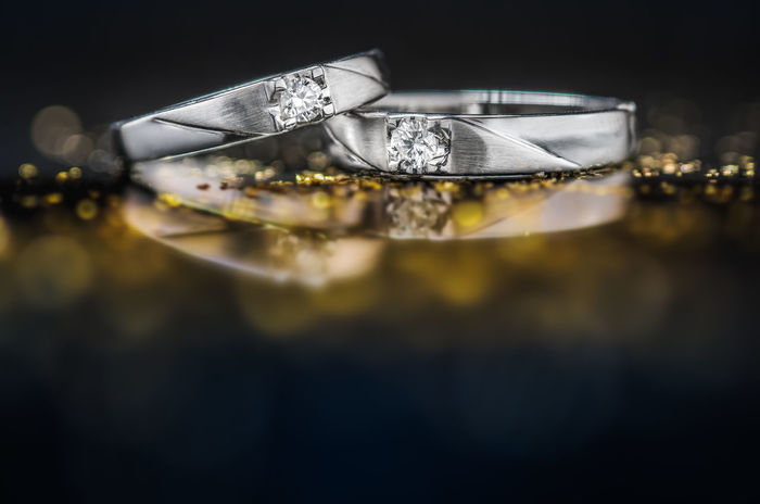 Groom Platinum Wedding Bokeh Both Bride Close-up Closeup Cople Daimond Diamond - Gemstone Diamond Ring Jewelry Luxury Precious Gem Reflection Ring Selective Focus Shiny Soulmate Wealth