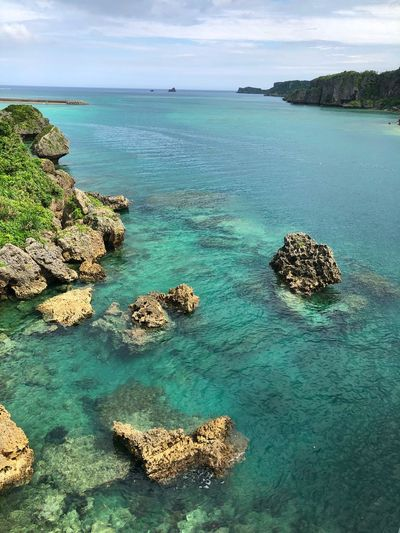 Okinawa Seascape Water Sea Beauty In Nature Scenics - Nature Sky Tranquility Tranquil Scene Nature Rock Outdoors