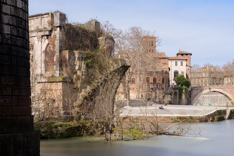 View of old building by river