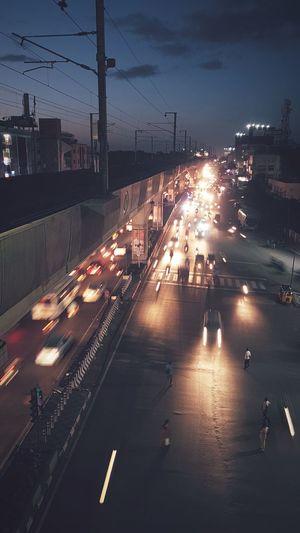 City Illuminated Cityscape Car Road Street Traffic Sky