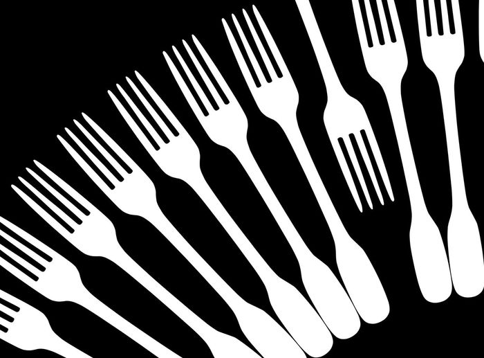 W Forks on B Black And White Countertrend Draw Fork Fork Art Fork Design Fork Shadow Fork Silhouette Forks Kitchen Art Kitchen Utensils No People Opinion Opposite Opposite Directions Other Way Plant Trend Graphic Fork Graphic Design Studio Shot Silhouette