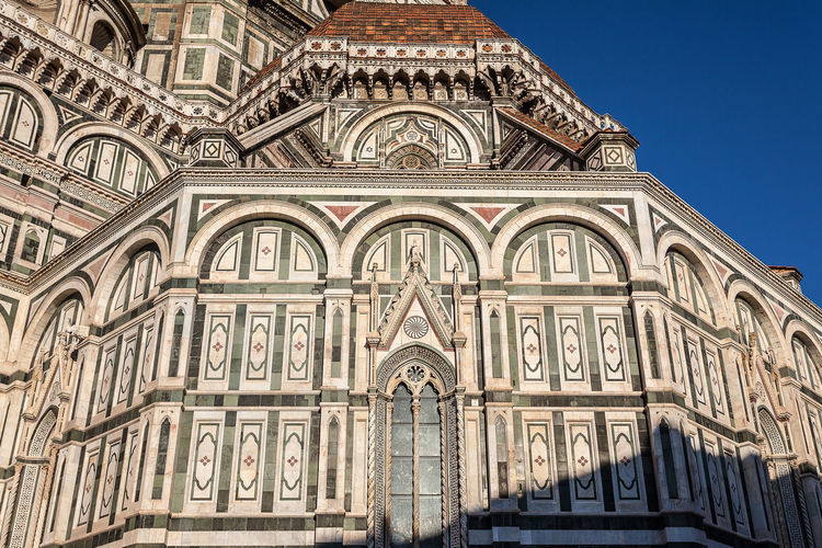 Low angle view of duomo santa maria del fiore against clear sky