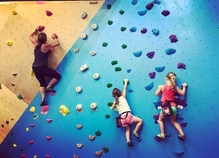 Climb As A Family Climbing Wall Exercising Boulder Indoor Bouldering Indoor Climbing Climbing Gym