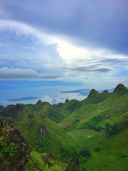 Beauty In Nature Scenics Nature Sky Mountain Cloud - Sky Landscape Outdoors Day Green Color Mountain Range Fog Scenery Tourism Travel Destinations Blue Osmeña Peak Cebu City, Philippines