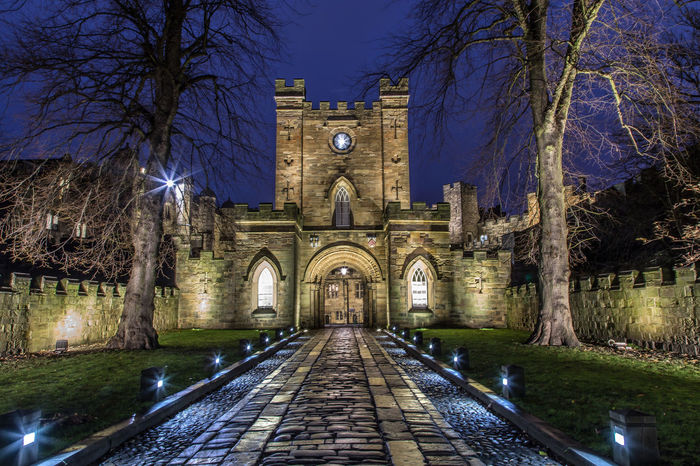 Durham City Architecture Building Exterior Built Structure Castle Barbican Illuminated Night No People Outdoors Tree