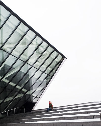 red dot 😍 Alone In The City  Architectural Detail Geometry Snow On Staircase MO Museum Museum Of Modern Art Grey Sky One Woman Only Redhead Winterscapes Staircase Fujifilm Monochrome Architecture Built Structure