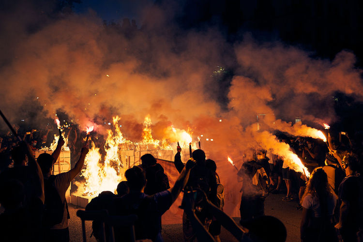 Group of people in a riot