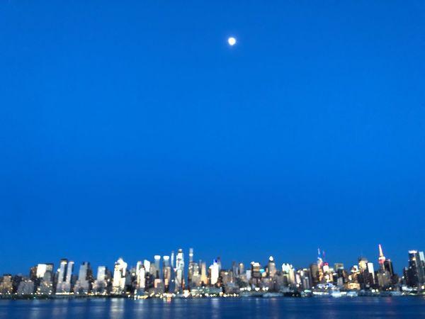 Manhattan Moon Water Moon Architecture Sky Blue City Skyscraper Waterfront Urban Skyline Night